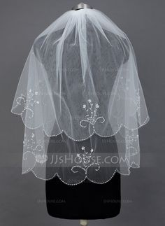 Two-tier Elbow Bridal Veils With Beaded Edge (006034296)