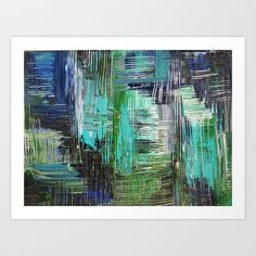 AQUATIC COMMOTION in Color - Textural Ocean Beach Nautical Abstract Acrylic Painting Wow Winter Xmas Art Print by EbiEmporium - $20.00