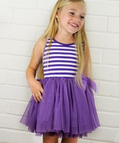 Take a look at this Lavender Stripe Tutu Dress - Toddler & Girls by POP Couture on #zulily today!