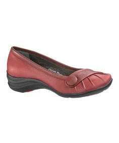 Take a look at this Dark Red Leather Sonnet Flat - Women by Hush Puppies on #zulily today!