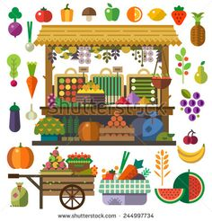 Food market. Vector flat vegetables and fruits. Carrot, pumpkin, onion, tomato…
