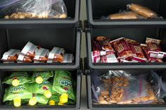 pre-prepared snack/lunch items in pantry.  makes packing lunches easy