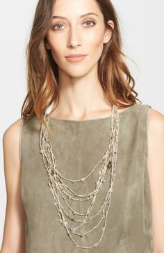 Free shipping and returns on Fabiana Filippi Glass Bead & Paillette Necklace at Nordstrom.com. Delicate strands laced with clear glass beads and dainty paillettes are layered to fashion a lovely feminine necklace secured by a linen grosgrain tie.