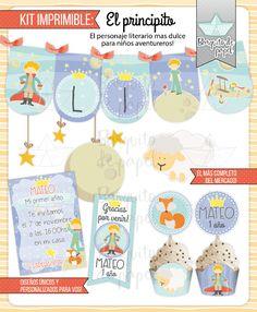 ⛵ www.bonveler.com ⛵ Kit imprimible personalizado + Candy bar PRINCIPITO + completo