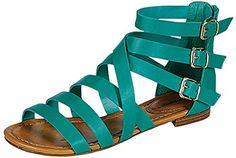 2461efe88087e5 Breckelles Womens Covina24 Gladiator Strappy Flat Sandals     Click image  for more details.