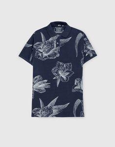 Pull&Bear - homem - vestuário - blusas - polo estampado flores - marinho - 09202504-I2016