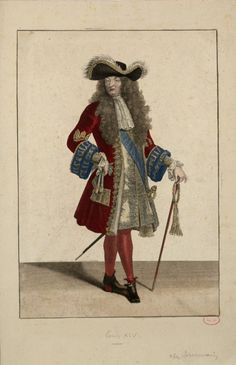 The French caption below this sketch identifies this courtly gentleman as none other than Louis XIV himself.  A rare colour study (i.e. not a full painted portrait) of the King in fairly relaxed daytime garb.