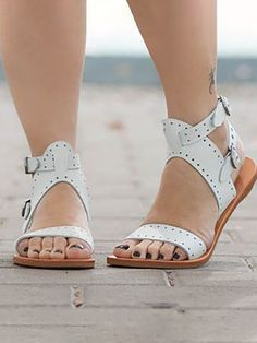 Women Elegant Hollow Out Peep Toe Sandals Pretty Sandals, Boho Sandals, Flat Sandals, Strap Sandals, Leather Sandals, Shoes Sandals, Sandals Outfit, Flat Shoes, Shoe Boots