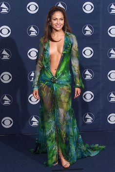 Jennifer Lopez at the Grammys in this barely there Versace dress