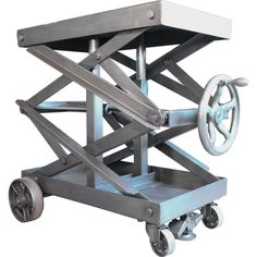 Industrial Adjustable Scissor Lift Table | From a unique collection of antique and modern tables at https://www.1stdibs.com/furniture/tables/tables/
