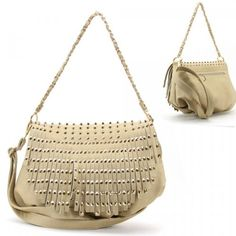 Buy New: $32.99: Gold Metal Studs / Spikes / Tassels Purse and Bag / Handbag / Beige / Rchf253nbge