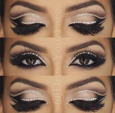 Double Cut Crease Glitter eye by #DressYourFace perfect bridal makeup