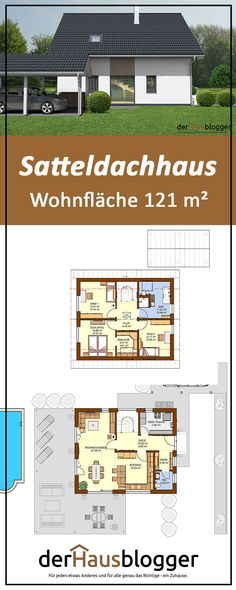 Einfamilienhäuser ohne Keller I created this house design of a saddle roof house over 121 m² living Amazing Gardens, Beautiful Gardens, Gable Roof, Outdoor Venues, House Roof, Diy Garden Decor, Real Wood, Bungalow, Living Spaces