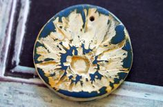 Polymer Clay Beads  Pressed Daisy Pendant  Art by BeadSoupBeads, $9.50