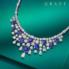 Graff Diamonds Stunning Sapphires. A perfectly crafted sapphire masterpiece, new from the Graff Diamonds workshop in London. This striking sapphire and diamond fringe necklace features 11 deep blue emerald cut sapphires and over 120 white diamonds.