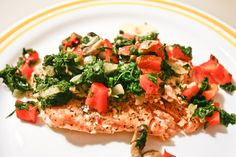salmon fillet - spinach saute - lemon pepper - healthy recipe - we love food friday - tone it up - blog - nutritional - eating right - peppers - mushrooms - broil