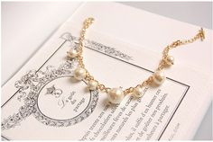 7 Cotton Pearls Gold Bracelet by Richbon on Etsy