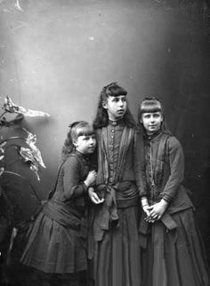 A group of late 1800's German Girls. Aristocracy I believe, so the clothing is a little more fine, but still a good reference for the period. Alexandra, Victoria, and Marie