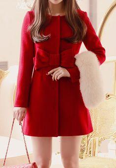 Elegant Bowknot Red Coat