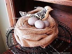 Burlap birds nest