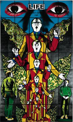 Gilbert and George's colourful piece depicts the artists themselves as angels, amongst male figures, leaves and graphic eyes. Contemporary Art Daily, Contemporary Artists, Modern Art, Art Pop, Gilbert & George, Graphic Eyes, Sir Anthony, Art Moderne, Art Plastique