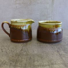 Vintage Crown Lynn 'Country Fair' Milk Jug & Sugar Bowl  Designed by Crown Lynn and made at Crown Lynn's Titian Factory, New Zealand.  This design was released in 1978.