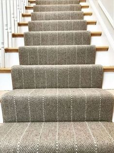 Love the modern design of this carpet runner. It is unique and gives the staircase a custom look. The light color carpet is also beautiful next to the white on the staircase. White Staircase, Staircase Runner, Staircase Design, Staircase Ideas, Carpet Runner On Stairs, Best Carpet For Stairs, Runners For Stairs, Sisal Stair Runner, Rustic Staircase