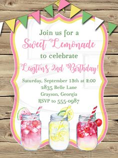 Lemonade Birthday Invitation-Digital File by graciegirldesigns77 on Etsy