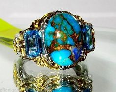 Mojave Blue Turquoise Blue Topaz Ring - what an interesting and sparkly combination!