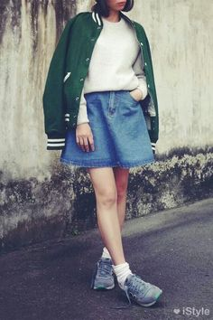 NB + short denim skirt