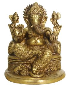 Brass Ganesh Statue on a Throne with a Bolster - Ganesh Statues