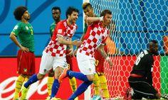 Mario Mandzukic celebrates scoring Croatia's third goal in the 4-0 win over Cameroon.