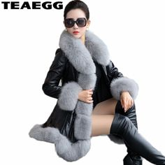 83eedccc85b TEAEGG Thick Winter Coat Women s Leather Jacket Female Jaqueta De Couro  Feminina Faux Fox Fur Collar