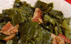 Slow cooker Collard greens... I put these on the night before so that we have plenty of greens for the new year's day feast. Combine your favorite greens. Use ham hock or smoked turkey. Omit the sliced bacon if you wish.