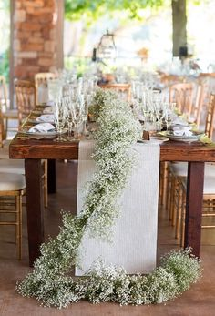 Sweet Violet Bride - http://sweetvioletbride.com/2013/11/rustic-wedding-table-garland-ideas/