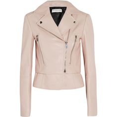 Balenciaga Leather biker jacket ($2,810) ❤ liked on Polyvore featuring outerwear, jackets, balenciaga, leather, pink, moto jacket, peplum jacket, pink leather jacket, asymmetrical zip jacket and real leather jacket