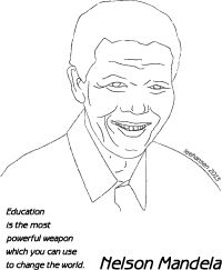 Nelson Mandela Biography Coloring Page or Poster. Makes a