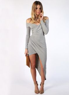 Grey Off The Shoulder Asymmetric Sheath Dress