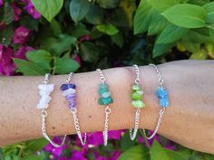Healing Gemstone Beaded Bar Bracelets or Anklets! All bracelets and anklets have lobster clasp closures.  *** These pieces were individually strung to ensure the maximum space provided was utilized. I work tirelessly to make these stones fit as effortlessly as possible. ***   * Three sizes available:  1.) Small 6.75 inches 2.) Medium 7.5 inches 3.) Large 8.5 inches  * Five Stone Options:  1.) Rose Quartz 2.) Amethyst 3.) Green Aventurine 4.) Green Quartzite 5.) Blue Crackle Sea Glass