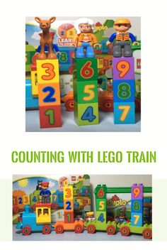 Learn to count it`s fun with Number Train With a little help from the friends found in LEGO DUPLO Box, the counting is easier. Duplo Box, Lego Duplo, Learn To Count, Lego Trains, Counting, Kids Toys, Numbers, Inspired, Learning