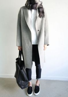 Light Grey Plain Buttons Long Sleeve Fashion Polyester Wool Coat