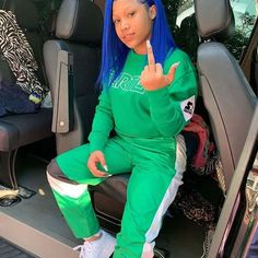 Ion know anybody else that can rock blue hair 💙🤩 Lit Outfits, Swag Outfits For Girls, Teenage Outfits, Dope Outfits, Pretty Outfits, Fashion Outfits, Tomboy Outfits, Fasion, Black Girl Swag
