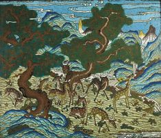A rare cloisonné enamel 'Nine-deer' panel, China, Qing dynasty, Qianlong period (1736-1795).