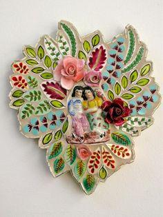 Miniature garden couple with bird - Rah Rivers