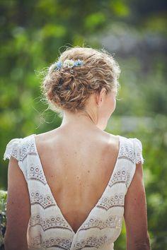 Bride in elegant + backless Laure de Sagazan dress. Nova Wedding Photography. #lauredesagazan #lauredesagazanbride #frenchbridaldesigner #backlessweddingdress