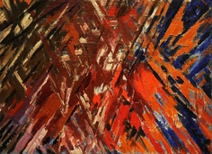 Mikhail Larionov - Rayonist Composition - Domination of Red. 1912-13 (dated on painting 1911)