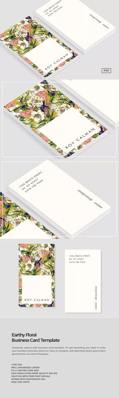 Earthy Floral Business Card Template PSD