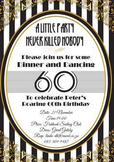 Great Gatsby birthday party invitation design by Very Cherry Design Studio Stationery Design, Invitation Design, 60th Birthday Party Invitations, Birthday Dates, Gatsby, Announcement, Cherry, Studio, Anniversary Dates