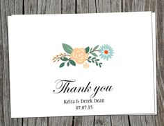 Earthy Floral DIY thank you cards for weddings. Print from home.