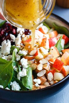 Apple Almond Feta Spinach Salad - Crunchy sweet and easy to make this healthy spinach salad is full of fresh flavors. - by Apple Almond Feta Spinach Salad - Crunchy sweet and easy to make this healthy spinach salad is full of fresh flavors. Spinach Salad Recipes, Spinach And Feta, Healthy Salad Recipes, Vegetarian Recipes, Spinach Apple Salad, Dinner Salad Recipes, Simple Salad Recipes, Healthy Foods, Simple Spinach Salad